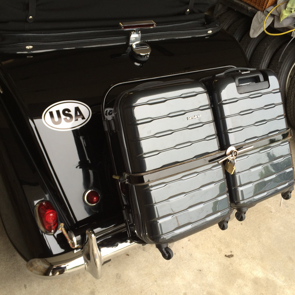 luggage rack with carry-ons lockedr